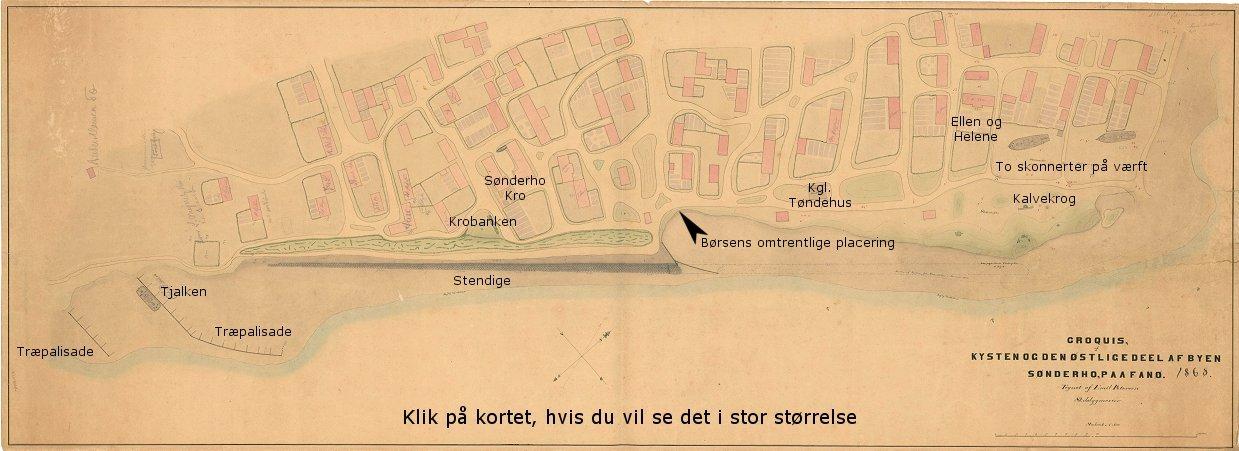 Kort Over Sonderho Havn 1868 Tegnet Af Skibsbygmester Emil Petersen